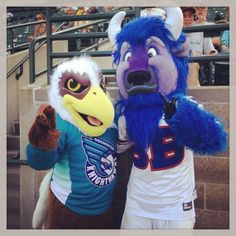 R. Thunder poses with Billy the Buffalo at Frontier Field for the Rochester Red Wings Mascot Night.