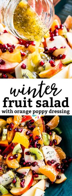 This Winter Fruit Salad is a great way to eat fresh fruit during the colder months. It makes a healthy addition to any Christmas, New Year's or other holiday gathering. It's so quick and easy to make and the dressing tastes absolutely delicious! Learn three tips to make a foolproof fruit salad here: | #recipes #healthy #healthyrecipes #cleaneating #christmas #christmasrecipes #christmasfood