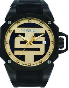 Technosport TS-102-3 Unisex Swiss Black Stainless Steel Case Watch Yellow Gold And Black Dial