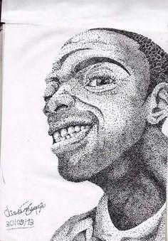 Auto retrato em pontilhismo com caneta nanquim