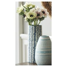 Threshold� Ceramic Cylinder Vase - Teal 10.5""