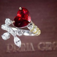 Prima Gems Heart Shaped Ruby and Diamond Ring