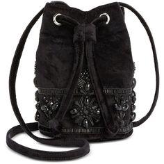 Steve Madden Velvet Emerald Beaded Mini Bucket Bag ( 74) ❤ liked on Polyvore  featuring bags, handbags, shoulder bags, black, steve madden purses, ... d992283904