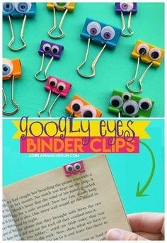 Binder clip googly eyes - A girl and a glue gun googly eyes binder clips Cute Crafts, Crafts To Make, Easy Crafts, Crafts For Kids, Kawaii Crafts, Kids Diy, Paperclip Crafts, Market Day Ideas, Glue Gun Crafts