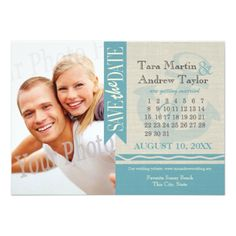 Cruise Ship Save the Date Anchor and Burlap Photo Save the Date Card