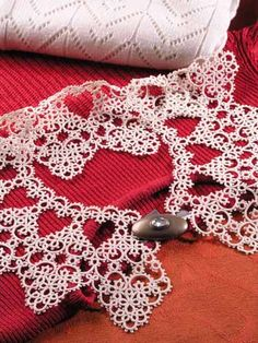 Tatting to go on a collar of a dress or sweater.