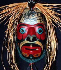Raven Spirit Talker Mask (Gaax haayk daalx), Tsimshian, 2014.  Signed Reynold Collins. Cedar bark, rope, abalone, rabbit fur, raven feathers, bone, paint.  Huge and beautiful.