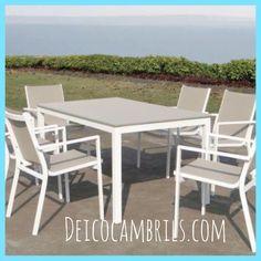 Mesa y sillas de aluminio y textilene. Colección de mueble de jardín en Muebles Deico Cambrils