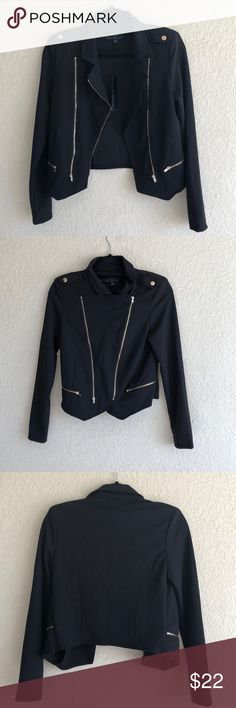 """Black Moto Jacket from Fashion Nova Brand New • Never worm • Black Moto Jacket from Fashion Nova.   Brand is called """"Chocolate"""". Material is a 94/6% Polyester/Spandex blend.  Bought a while ago and it isn't really my style. Chocolate Jackets & Coats"""