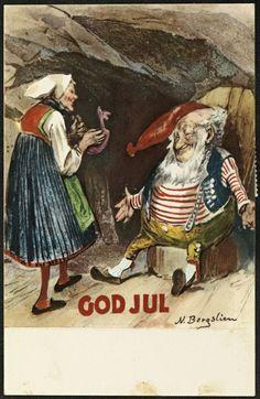 Julekort utgitt ca. 1930. Kunstner Nils Bergslien (1853-1928) utgiver H. Abels kunstforlag.
