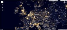"""rieni: """"Light Pollution Map of Europe. This is especially interesting for those, who want to make photos of the night sky. See the whole map here:. Light Pollution Map, Interactive Map, Make Photo, Map Design, Night Skies, City Photo, Europe, Sky, Maps"""