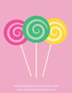 Swirl Lollipops Clip Art Cute Candy Shop Food by runningwithfoxes  #art #illustration #design #graphic #etsy