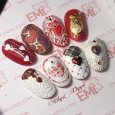Dream Nails, Love Nails, Pink Nails, Pretty Nails, Valentine Nail Art, Holiday Nail Art, Nail Art Noel, Romantic Nails, Vintage Nails