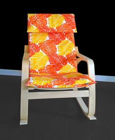 Orange Leaves Poang Chair Cover, Leaf Ikea Seat Cover, Tropical Ikea  Cushion Cover