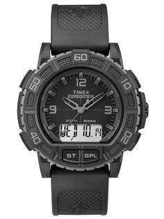 TIMEX Expedition Double Shock Blackout Watch One Size. Great for outdoor enthusiasts, the Timex Expedition Double Shock Blackout Watch features timeless styling and with easy-to-use technology. Elegant Watches, Casual Watches, Cool Watches, Watches For Men, Black Watches, Timex Watches, Seiko Watches, Timex Expedition, Black Packaging
