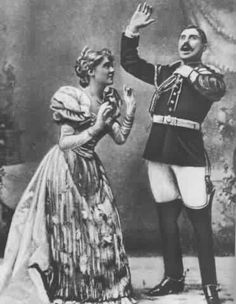 "Nancy McIntosh as Princess Zara and Charles Kenningham as Captain Fitzbattleaxe in the original 1893 production of ""Utopia Limited"" at the Savoy Theatre."