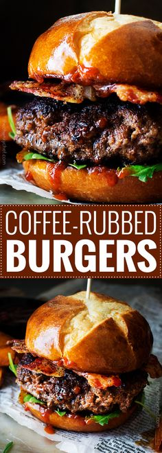 Coffee Rubbed Burgers with Dr Pepper BBQ Sauce | The Chunky Chef |  Not your average burger! Juicy beef burgers seasoned with a spiced coffee rub, topped with peppered bacon and a lip smacking Dr Pepper BBQ sauce!