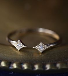 """Open star ring "" is a unique wedding band designed to accentuate your engagement ring that sits above. The style is sophisticated and dainty. The gap between two stars measures about and it ca Cheap Wedding Rings, Custom Wedding Rings, Unique Wedding Bands, Gold Diamond Wedding Band, Wedding Rings Vintage, Diamond Wedding Rings, Bridal Rings, Diamond Bands, Diamond Engagement Rings"