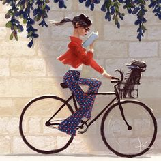 French woman on bicycle in Paris by Kei Acedera.