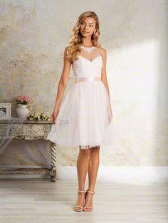 Alfred Angelo 8641S short illusion neckline Ballerina Size 6 bridesmaid dress