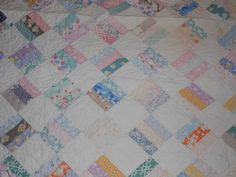 Vintage 30's Square Block Shabby Country Hand Sewn Quilted Complete Quilt | eBay