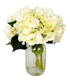 This Cream Hydrangea Silk Flower Arrangement by Creative Displays is perfect! #zulilyfinds