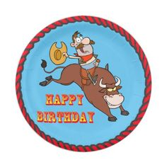 Cowboy Bull Riding Happy Birthday Paper Plates  sc 1 st  Pinterest & Red Bandana Cowboy Boot Paper Plates | Red bandana and Bandanas