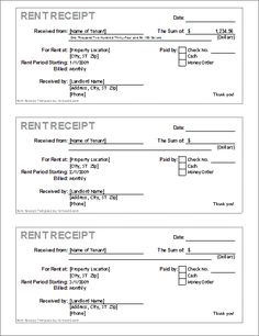 Free Rent Receipts Alluring This Set Of Three Identical Cash Receipts Is Formatted Horizontally .