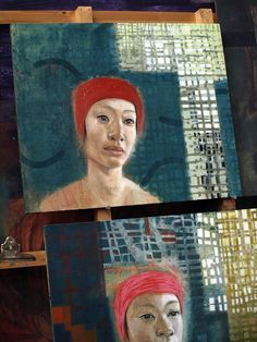 Studio July 11  2014  Swimmer painting in progress by Tom Wood