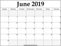 Blank June 2019 Printable Calendar.69 Best Free June 2019 Printable Calendar Templates Images