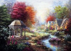 Nicky Boehme Gazebo Village 1000 Piece Jigsaw Puzzle #Chamberart