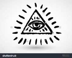 All Seeing Eye Pyramid Symbol In The Engraving Tattoo Style ...