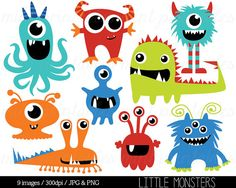 The Little Monsters Clip Art Set includes 9 PNG files with transparent backgrounds and 9 JPG files with white backgrounds. All the images are 300dpi and 10 inches at their tallest point. Mint Printables watermark will not appear in the files. Clipart is great for creating printed