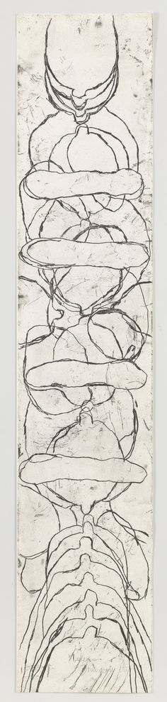 """Louise Bourgeois - My Secret Life. 2007. Only state, variant. Etching. plate: 60 × 12"""" (152.4 × 30.5 cm); sheet: 59 7/8 x 12"""" (152.1 x 30.5 cm) (dimensions reflect full plate size; this is a partial print). Osiris, New York. Wingate Studio, Hinsdale, NH. 1 known variant impression of the only state, outside the edition. Not numbered. Gift of the artist. 259.2011. © 2016 The Easton Foundation/Licensed by VAGA, NY. Drawings and Prints"""