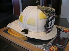 Fire helmet with instructions! follow links near the bottom for tutorial for entire cake