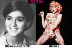 Madonna. Madonna in high school looks completely ready to be a seamstress or receptionist or housewife with a drinking problem.  So it took some serious twists to quickly transition her into the Madonna on the right.