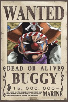 Poster One Piece Wanted Buggy (52x35)