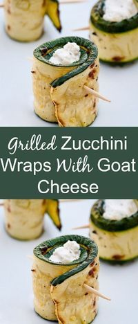 What a great appetizer idea. This Grilled Zucchini With Goat Cheese Wraps recipe is simply delicious. This is also super healthy option because the zucchini is filled with goat cheese. Yum! #appetizer #zucchini #fingerfood #recipe #healthy #glutenfree #ve