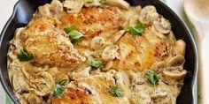 Κοτόπουλο ''μουσταρδάτο'' με μανιτάρια & κρέμα γάλακτος