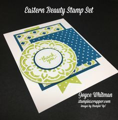 A great tip on how to use three framelits at one time through the big shot.  I used it on this handmade thank you card from Stampin' Up! using the Eastern Palace stamp set and Eastern Medallions Framelits