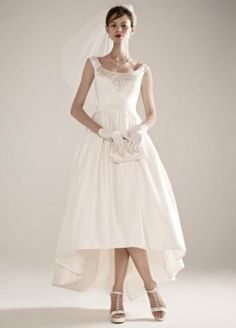 High-Low Off the Shoulder Satin Ball Gown