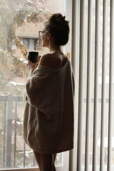 Big sweater dresses. Coffee. Glasses. Up-do. Bliss.