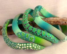 wiggles bangles in green - polymer
