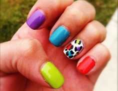 neon and leopard-print nails