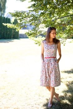 Flower dress with piping (gathered sundress)