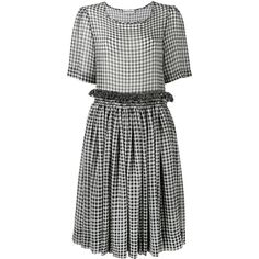 Molly Goddard  gingham shift dress ($615) ❤ liked on Polyvore featuring dresses, blue, cowboy dress, blue pleated dress, sheer dress, blue shift dress and cowgirl dresses