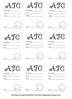 ATC Back Design Sheet No3 Trading Card Template