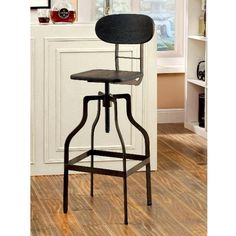 Leith Industrial Swivel Bar Stool, Dark Brown