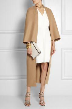 Camel, ivory and gold. Valentino | Wool-blend felt cape | NET-A-PORTER.COM
