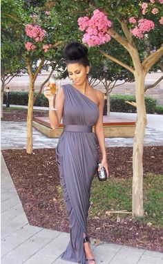 Modern One-shoulder Empire Bridesmaid Dress Floor-length With Beadings_High Quality Wedding & Evening Prom Dresses at Factory Price-27DRESS.COM